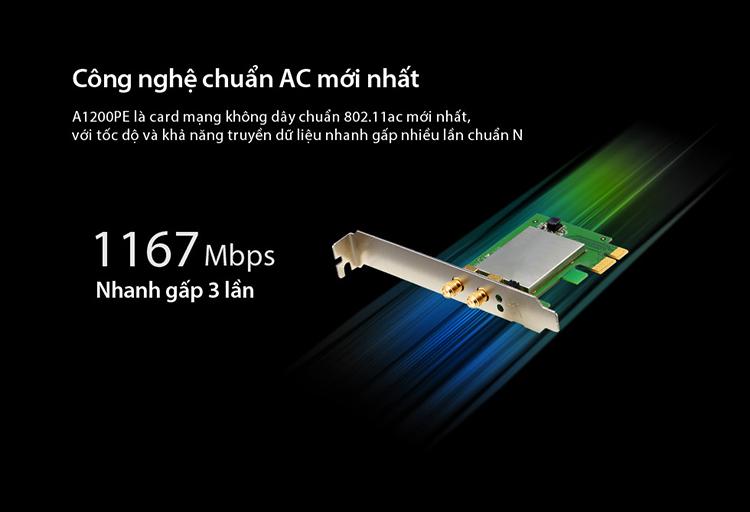 Card Mạng Wi-Fi PCI-e Băng Tần Kép AC1200 TOTOLINK A1200PE