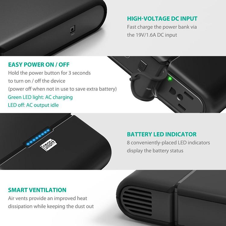 Pin Sạc Dự Phòng Cho Laptop RAVPower PB055 (27000mAh) – Đen - Hàng Chính Hãng