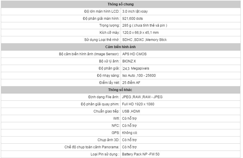 Máy Ảnh Sony ILCE-A6000 Và 16-50mm