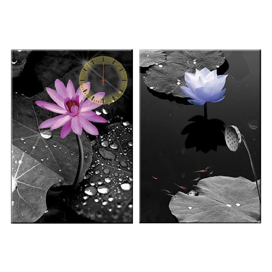 Tranh đồng hồ treo tường HOA SEN THUẦN KHIẾT SƯƠNG MAI - Q6D6_35DH(4) Thế Giới Tranh Đẹp