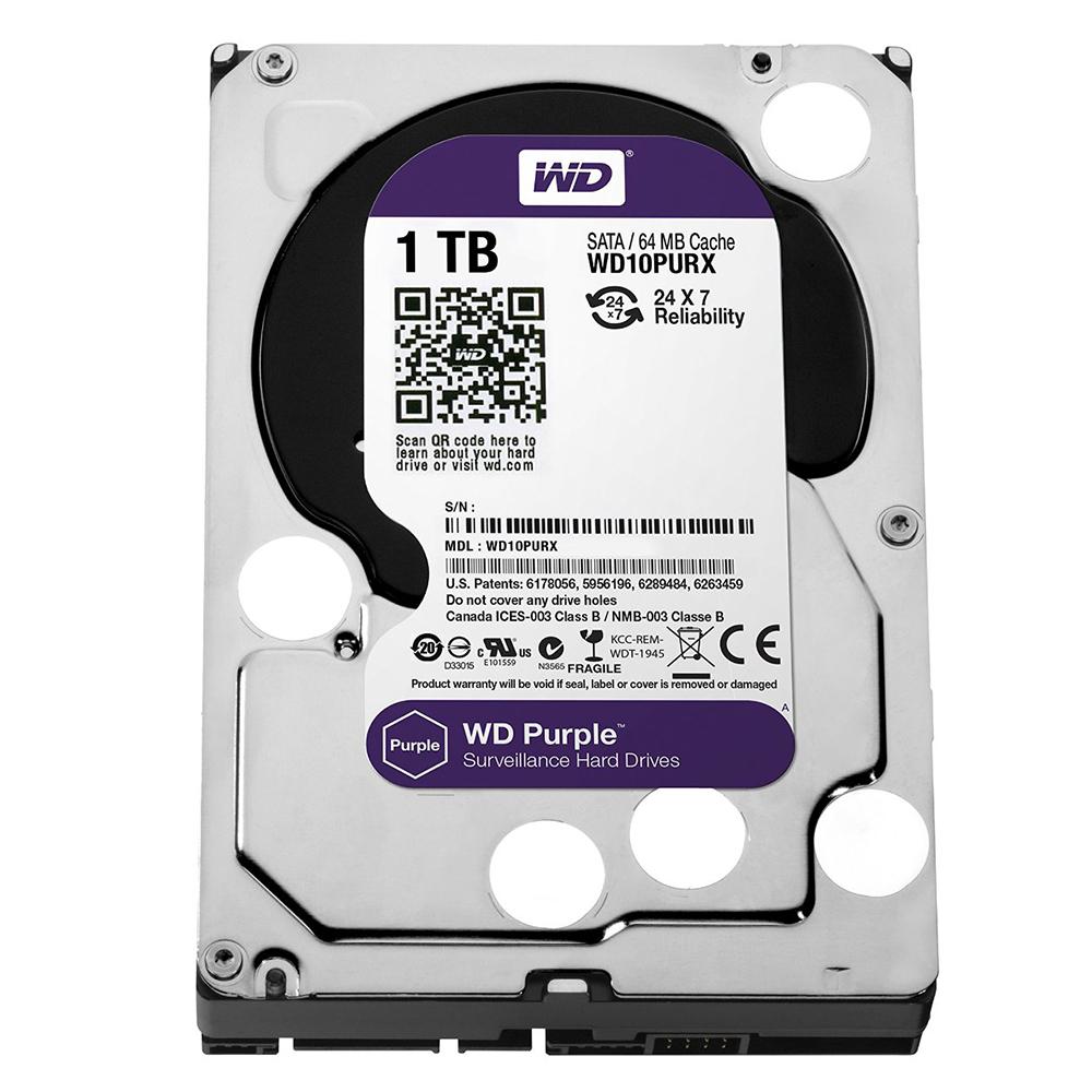 Ổ Cứng Camera WD Purple 1TB/64MB/3.5 IntelliPower WD10PURZ/WD10PURX - Hàng Chính Hãng
