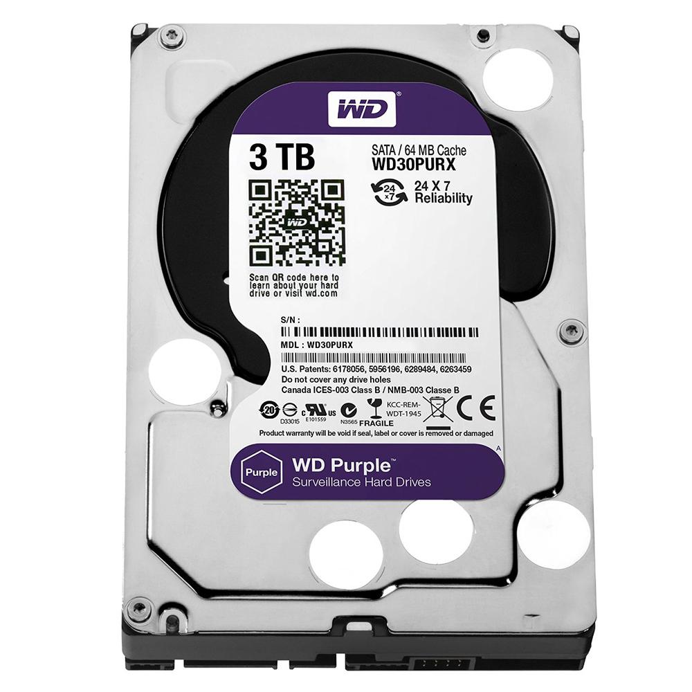 Ổ Cứng Camera WD Purple™ 3TB/64MB/3.5 IntelliPower - WD30PURZ - Hàng chính hãng