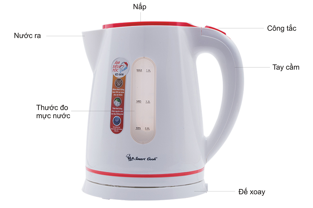 Bình Đun Siêu Tốc  SmartCook KES-0696 - 1.8L - Hàng chính hãng