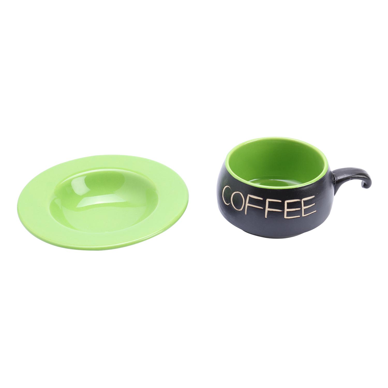 Bộ Quà Tặng Tách Coffee Đĩa Lõm P05X - Xanh