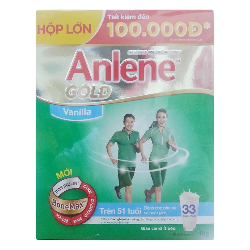 Sữa Bột Anene Gold Bonemax - Dành Cho Người Trên 51 Tuổi (Hương Vanilla, Hộp Giấy 1kg)