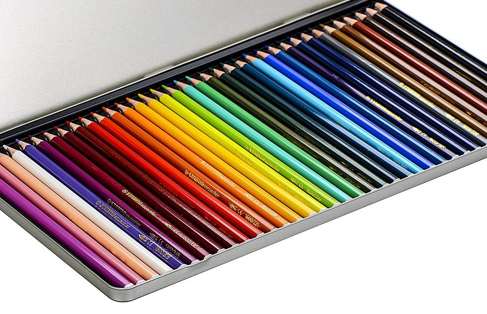 Bút Chì Màu Nước Stabilo Hộp Sắt 36 Màu - CLW1636M (Tặng Kèm Sách Tô Màu Stabilo)