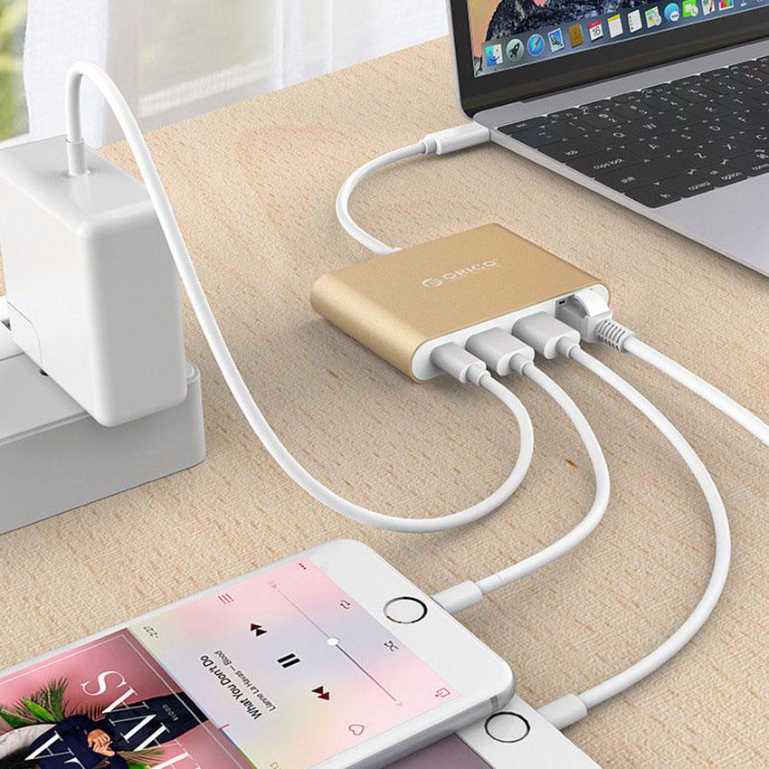 Bộ Chuyển Đổi USB Type-C Sang Type-C, USB3.0, Ethernet Orico RCR-2A - Hàng Chính Hãng