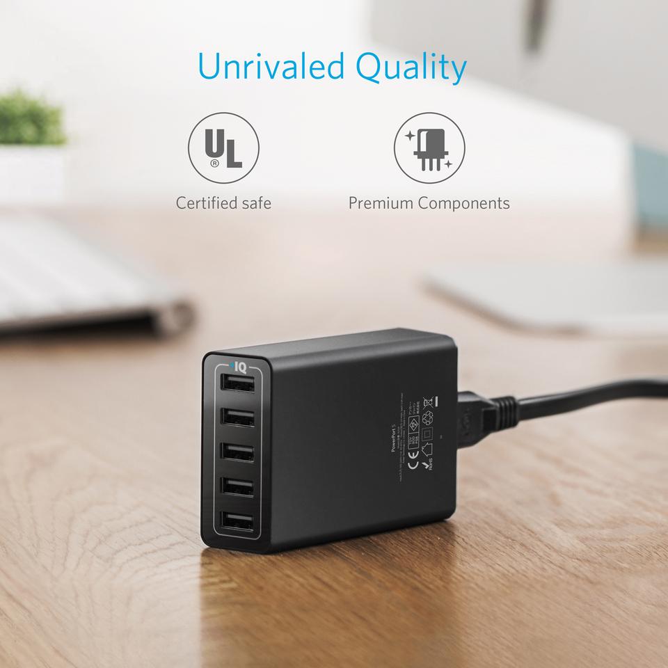 Adapter Sạc Anker PowerPort 5 Cổng USB - A2124