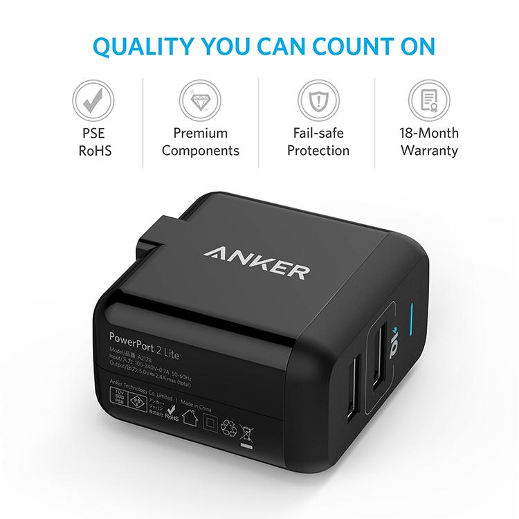 Adapter Sạc Anker PowerPort Lite 2 Cổng USB - A2128