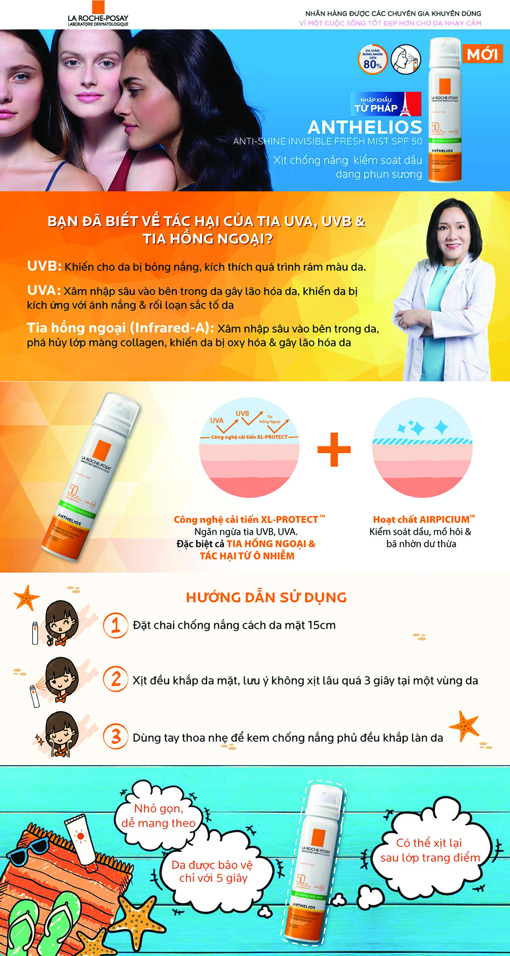Xịt Chống Nắng, Giúp Kiểm Soát Bóng Nhờn Và Bảo Vệ Da La Roche-Posay Anthelios Anti-Shine Invisible Fresh Mist SPF50 UVB + UVA Sun-Sensitive Skin 75ml - M9165700