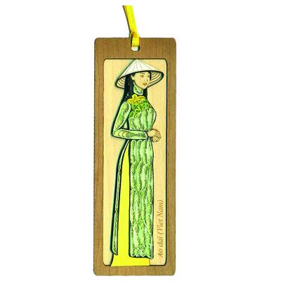 Bookmark Quilling & Veneer Nhỏ Việt Net - Áo Dài Quê Hương Mẫu 1