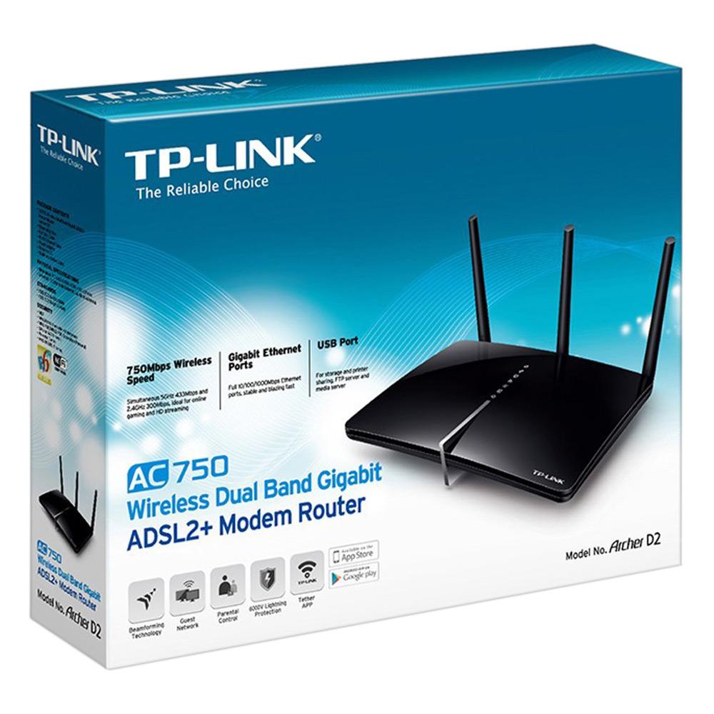 TP-LINK Archer D2 - Router Modem ADSL2+ Gigabit Băng Tần Kép Không Dây AC750
