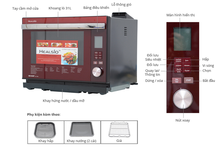 Lò Vi Sóng Hơi Nước Sharp AX-1600VN(R) - 31L (Đỏ Đen)