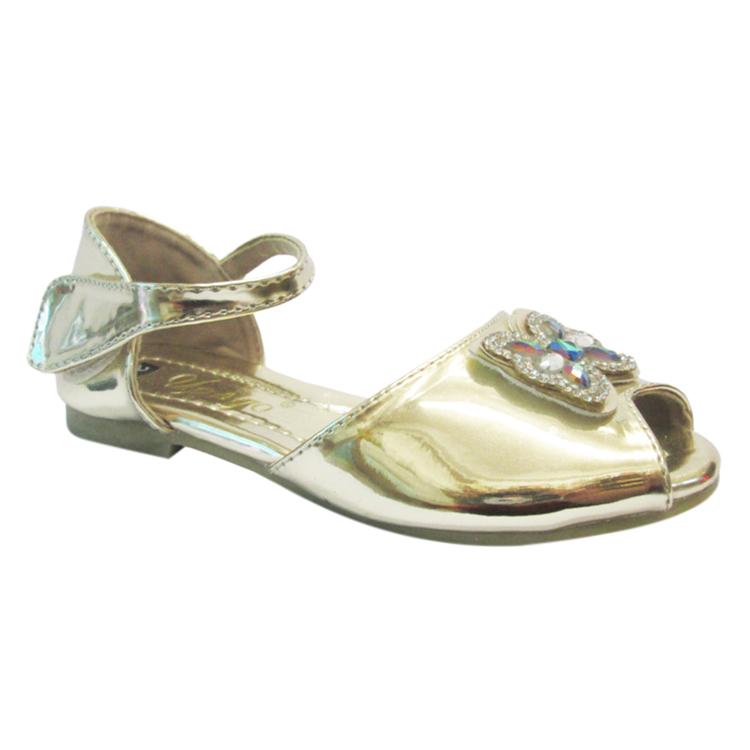 Giày Búp Bê Bé Gái Hở Mũi UpGo B01-262-YEL Đính Nơ Bướm - Vàng