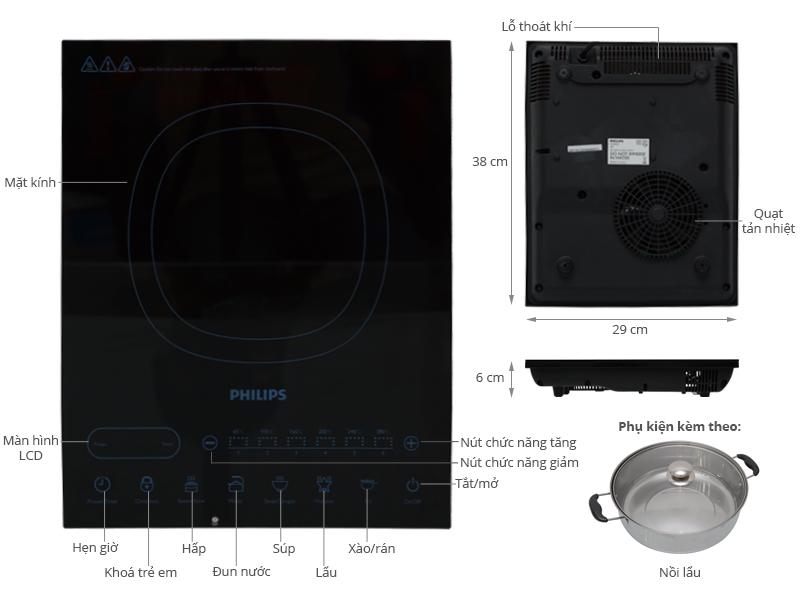 Bếp Điện Từ Philips HD4932 – Tặng Kèm Nồi Lẩu