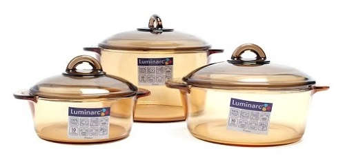 Bộ 3 Nồi Thủy Tinh Luminarc Amberline LR2040 – 1L + 2L + 3L