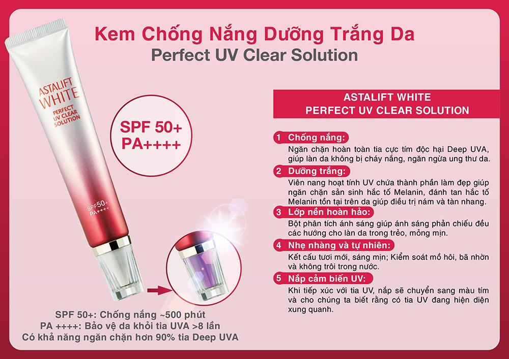 Kem Chống Nắng Dưỡng Trắng Da Astalift White Perfect UV Clear Solution SPF50+/PA++++ (30g)