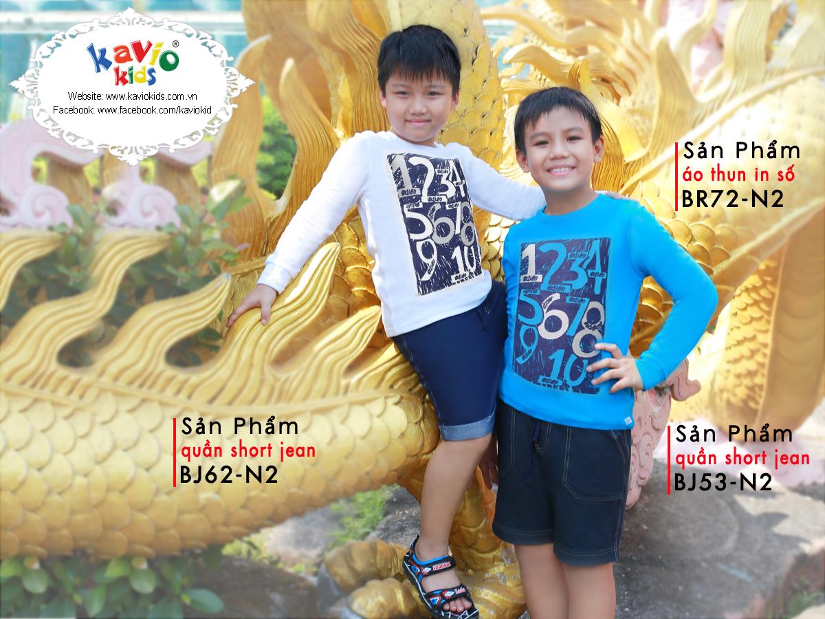Áo Thun Tay Dài Bé Trai Kavio Kids BR72-N2 - Trắng
