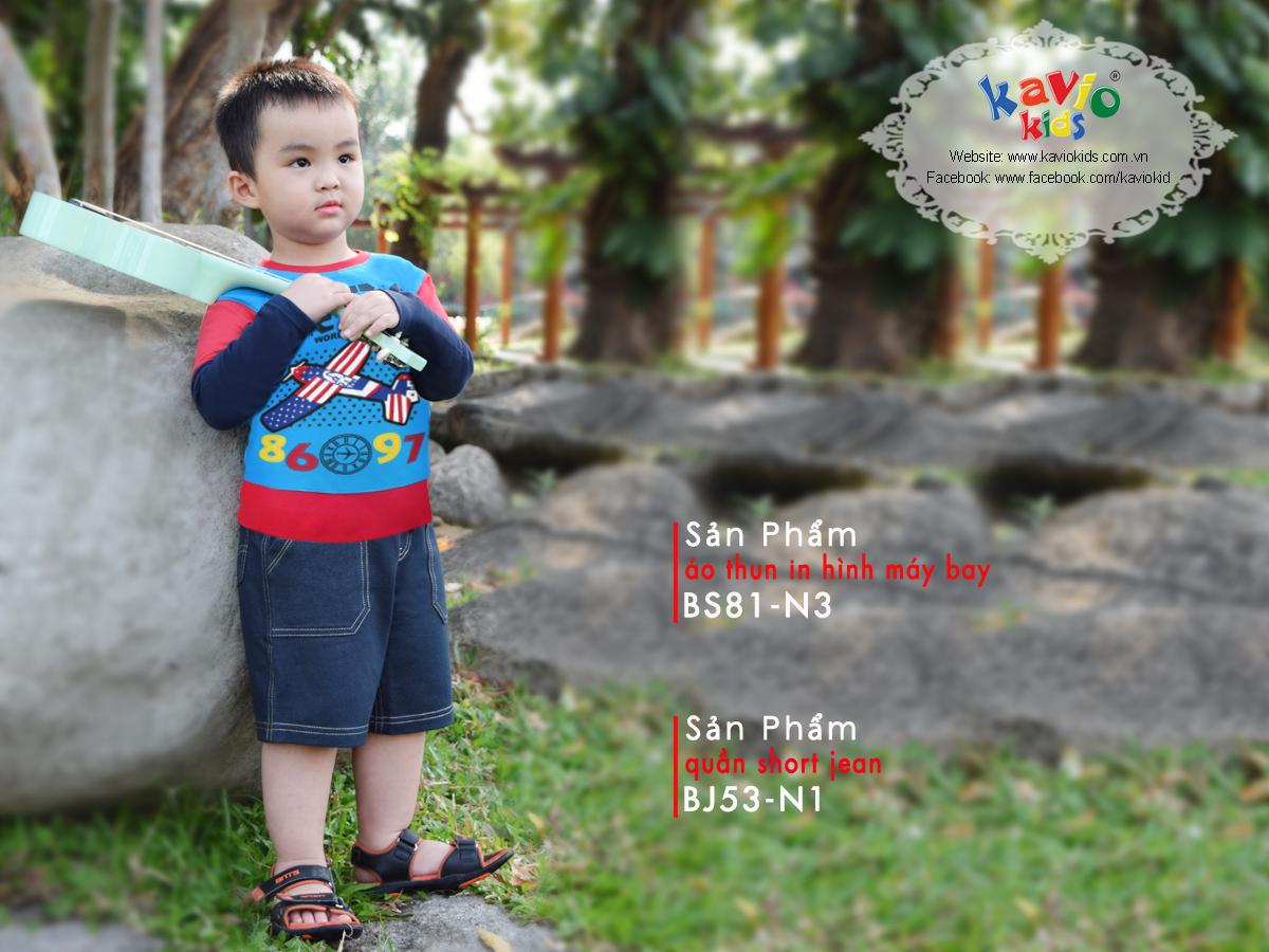 Áo Thun Tay Dài America Bé Trai Kavio Kids BS81-N3 - Xanh Biển