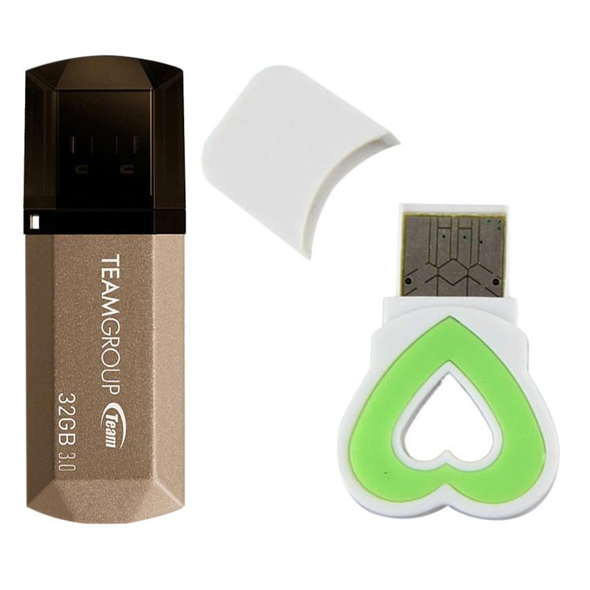 Bộ 1 Đầu Đọc Thẻ Nhớ Và 1 USB 3.0 Team Group C155 - 32GB - Hàng Chính Hãng