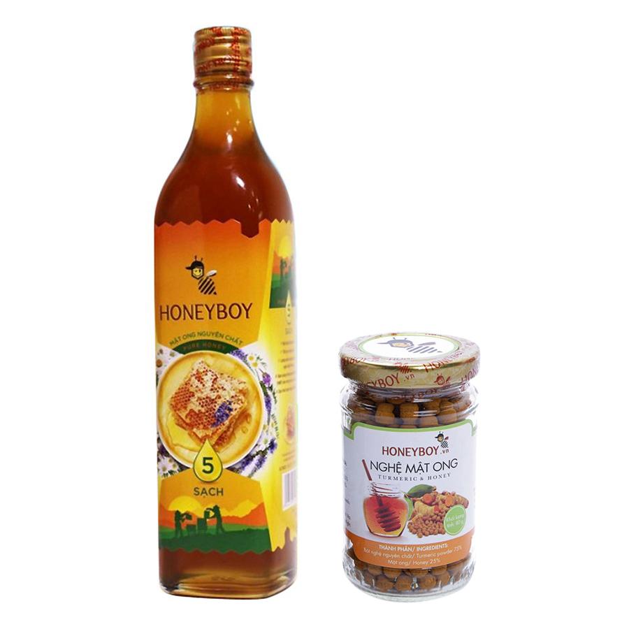 Combo Thực Phẩm Chức Năng Mật Ong Thiên Nhiên 5 Sạch Honeyboy (500ml) + Thực Phẩm Chức Năng Nghệ Mật Ong Honeyboy (80g)