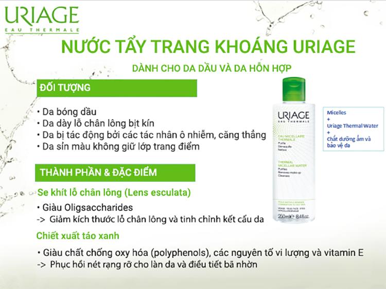 Nước Tẩy Trang Dành Cho Da Dầu Uriage Eau Micellaire Thermale PMG (250ml) 1