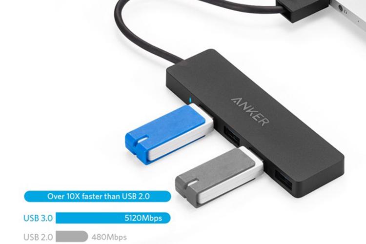 Hub USB 3.0 Anker Ultra Slim 4 Cổng USB A7516 - Hàng Chính Hãng