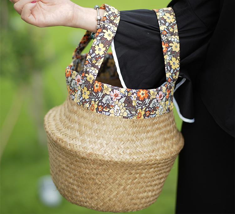 Túi Cói Phối Vải Hoa Mai Home TBC 335 - Màu Ngẫu Nhiên