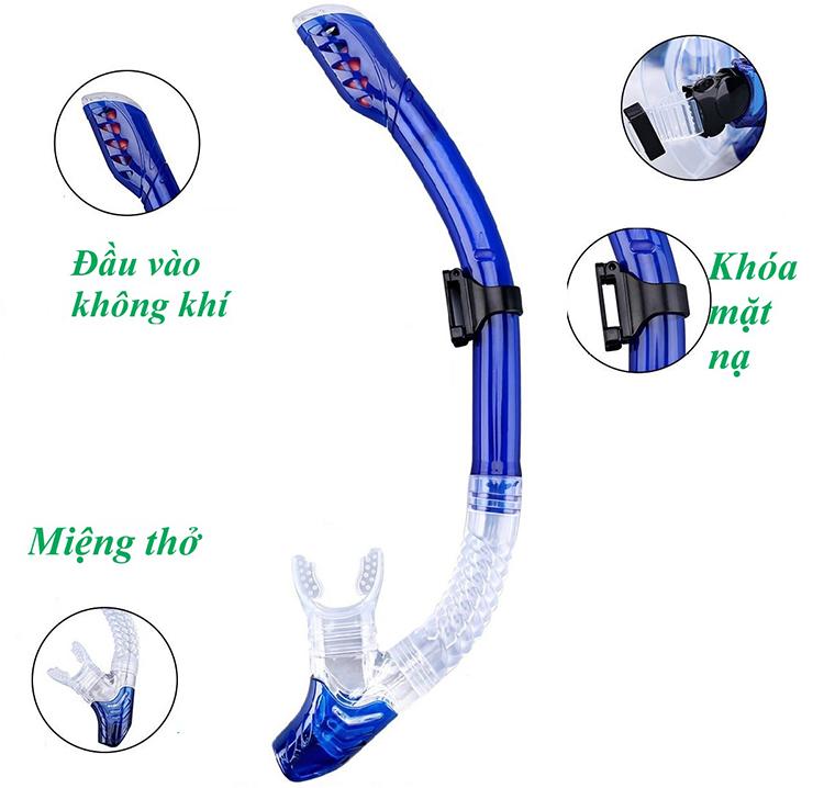 Ống Thở Lặn Biển, Van 1 Chiều Ngăn Nước POPO Sports Snorkel-Blue - Xanh