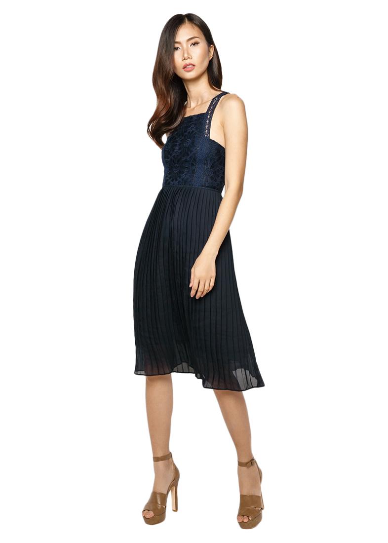 Đầm Ren Cổ U La Belle D222 - Xanh Đen