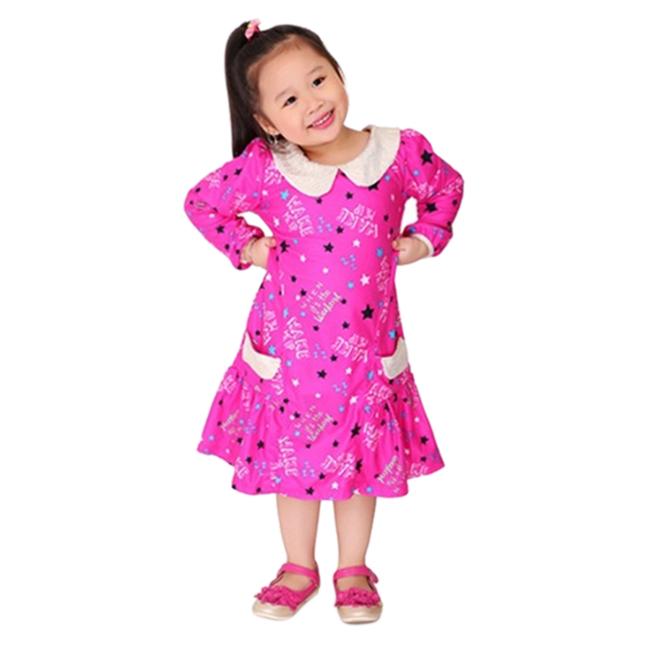 Đầm Tay Dài Cổ Sen Cirino D_BCCHUA_HNSAO In Hình Sao - Hồng Đậm