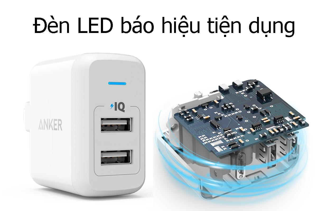 Adapter Sạc Anker PowerPort 2 Cổng USB - A2141