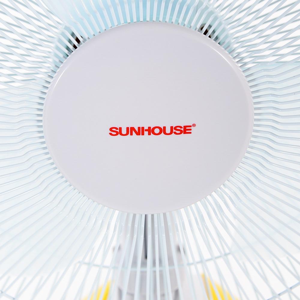 Quạt Bàn Sạc Tích Điện Sunhouse SH712 - Trắng Vàng - Hàng chính hãng