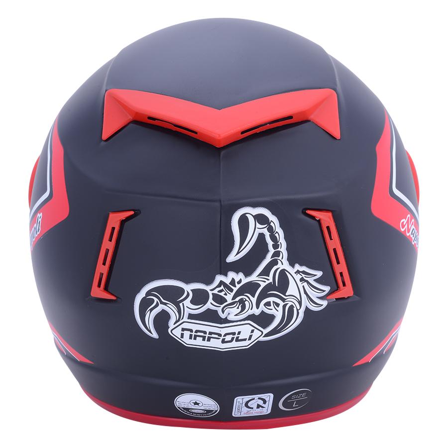 Mũ Bảo Hiểm Napoli Tem Bọ Cạp Màu Đỏ N039-RED-KT (Kính Trong) - Size L