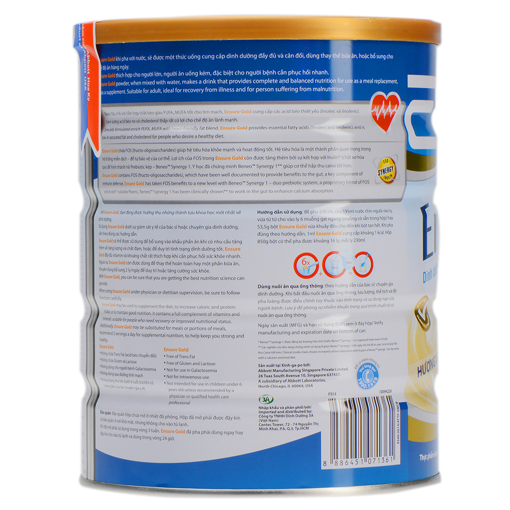 Sữa Bột Abbott Ensure Gold ESLA Giúp Trái Tim Khỏe Mạnh (850g)