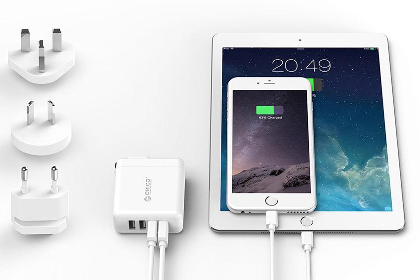 Adapter Sạc Điện Thoại Orico USB 4 Cổng 2.4A Universal DSP-4U - Hàng Chính Hãng