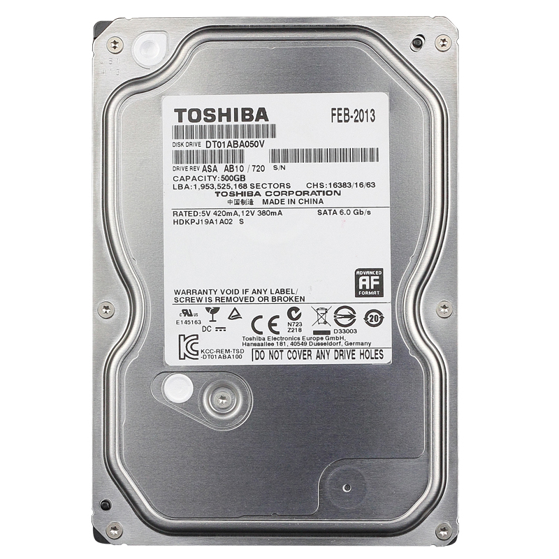 "Ổ Cứng Trong Camera Toshiba AV 500GB - 3.5""/SATA3/5700rpm/ 32MB"