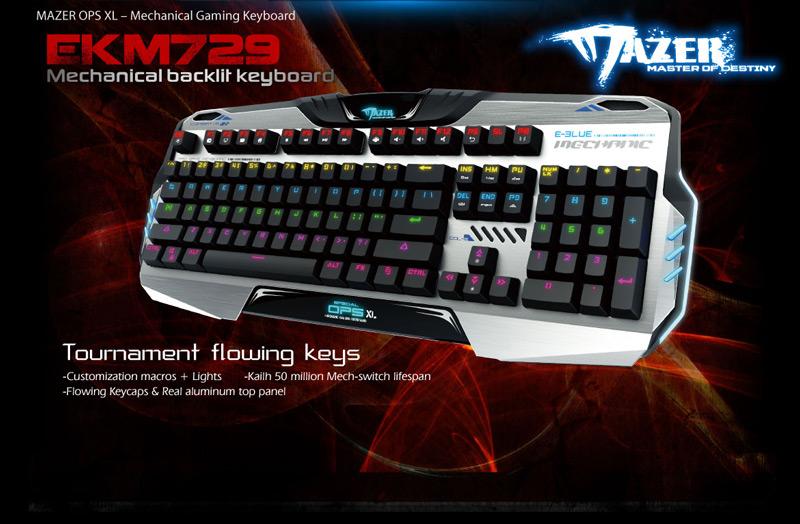 Bàn Phím Có Dây E-Blue Mazer EKM729 - Gaming