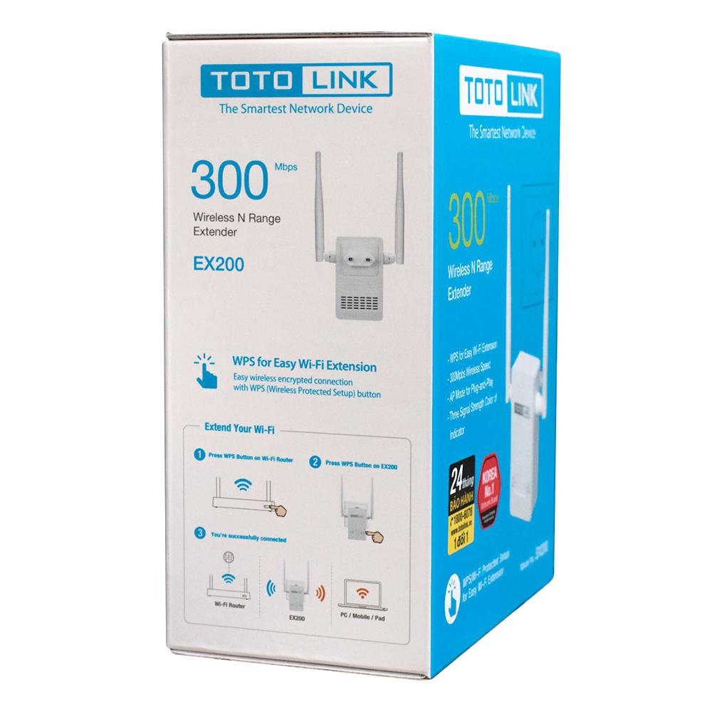 Bộ 2 Totolink EX200 - Bộ Mở Rộng Sóng Wifi Chuẩn N Tốc Độ 300Mbps - Hàng Chính Hãng