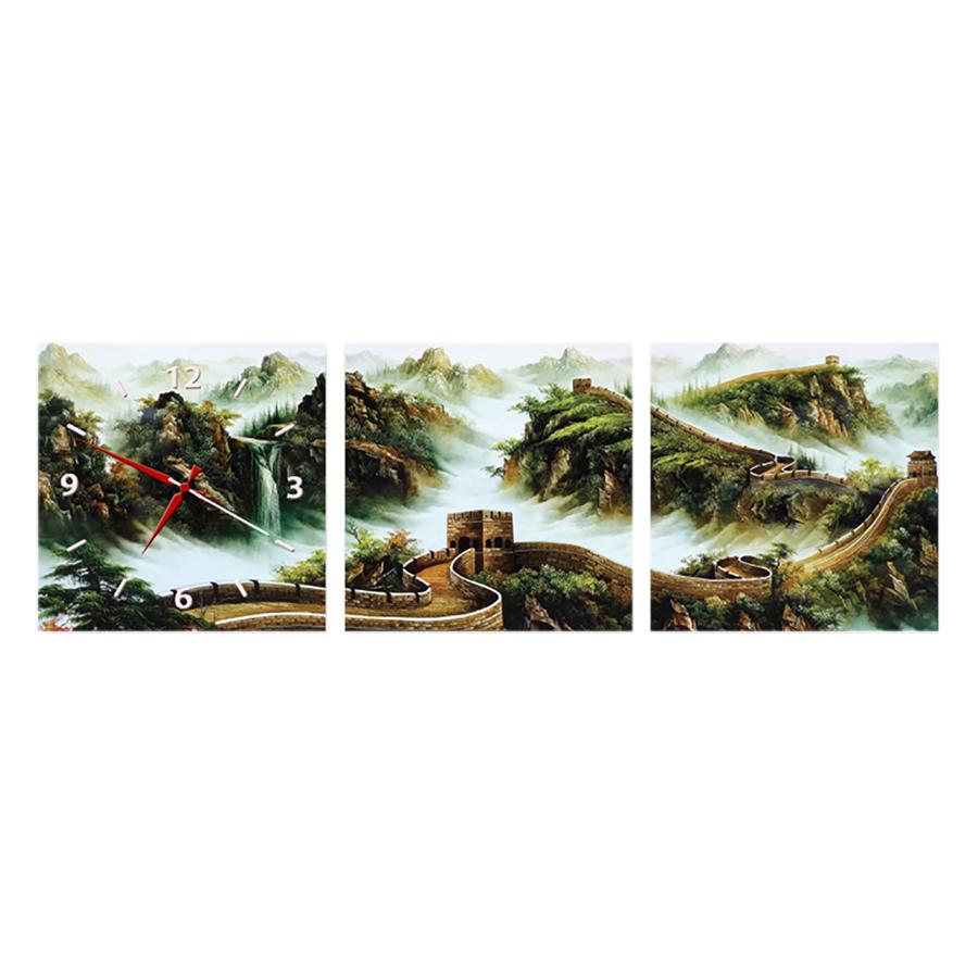 Tranh Đồng Hồ Treo Tường 3 Tấm Thế Giới Tranh Đẹp FJ0078-DH
