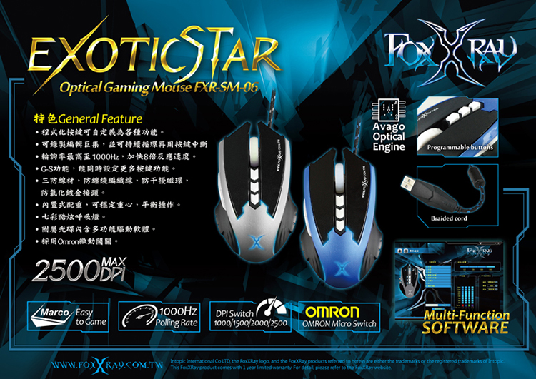Chuột FoxXray Exotic Star Có Dây - Gaming