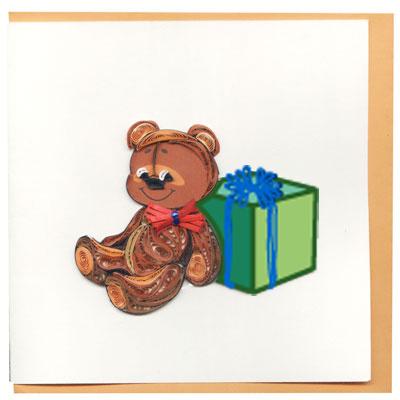 Thiệp Giấy Xoắn Việt Net - Gấu Bông (10 x 10 cm)