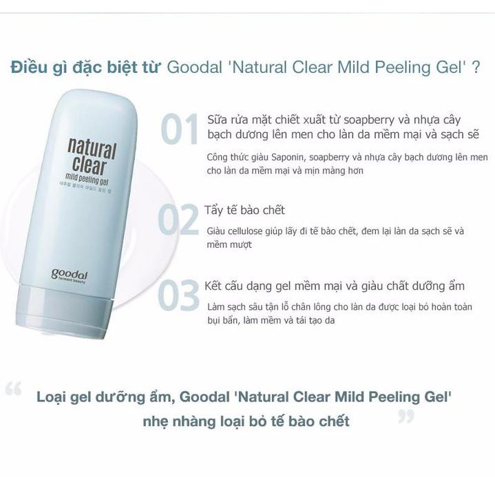 Tẩy Tế Bào Chết Cho Da Goodal Natural Clear Mild Peeling Gel (120ml)