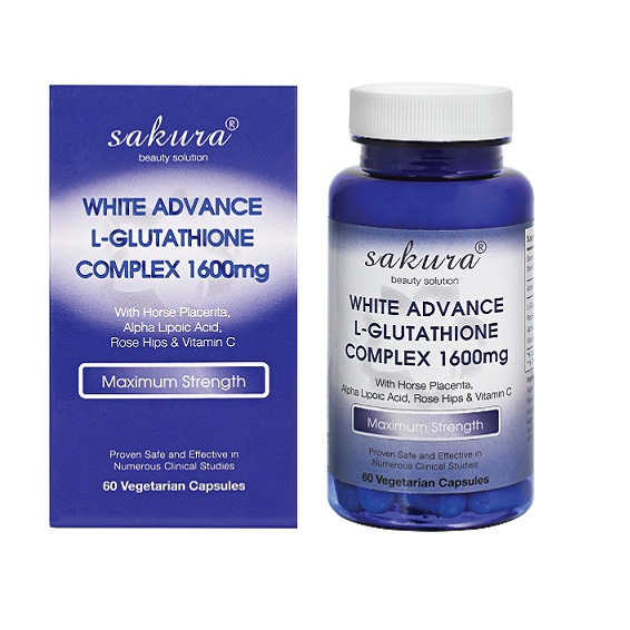 Thực Phẩm Chức Năng Hỗ Trợ Trắng Da Chống Lão Hóa Sakura White Advance L- Glutathione Complex 1600mg USA (60 Viên)