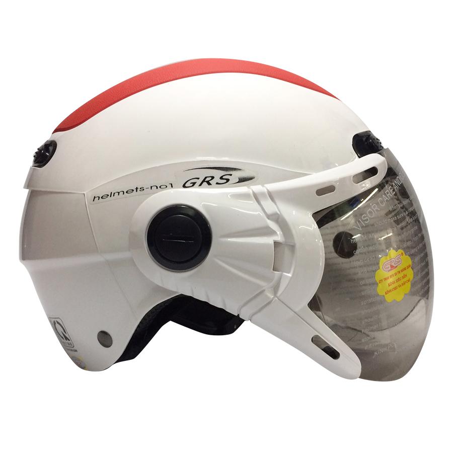 Mũ Bảo Hiểm GRS A102K - Trắng Line Đỏ