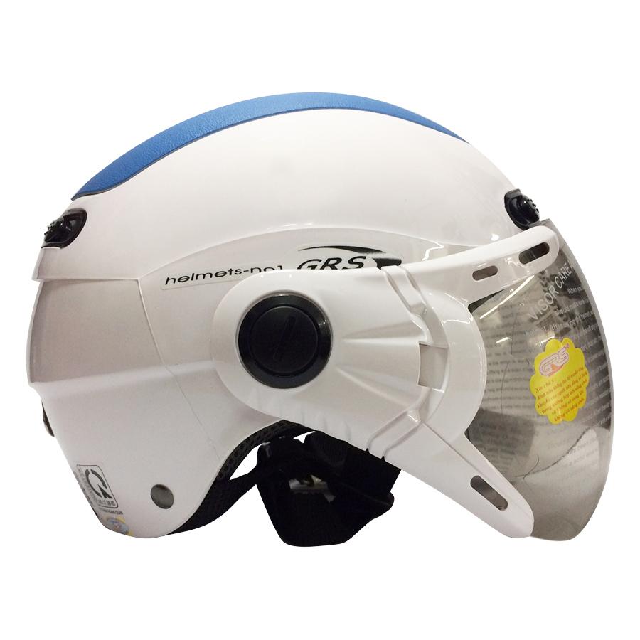 Mũ Bảo Hiểm GRS A102K - Trắng Line Xanh