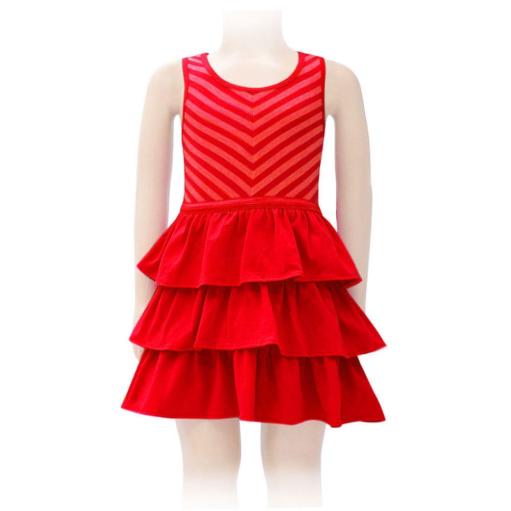 Đầm Xòe 3 Tầng Bé Gái Kavio Kids GS09-N1 - Đỏ
