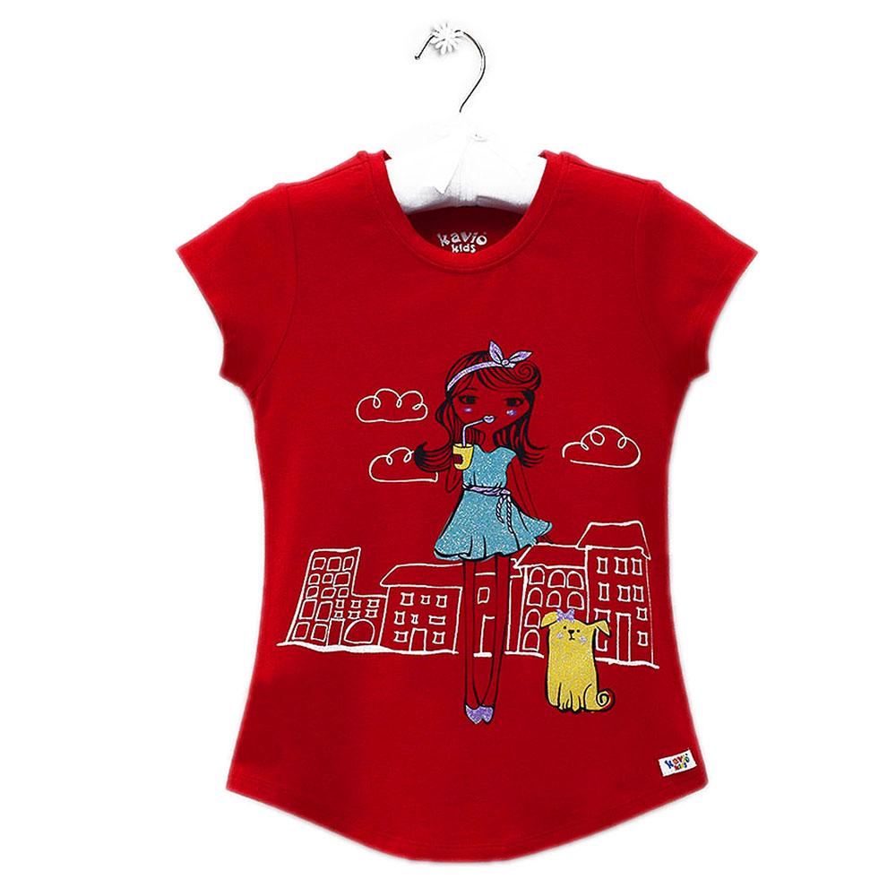 Áo Thun Tay Ngắn Bé Gái In Hình Kavio Kids GS28-N2 - Đỏ