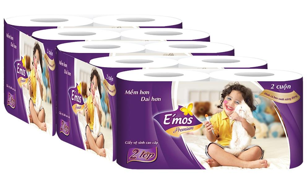 Giấy Vệ Sinh E'Mos Premium Tím 2 Lớp (Lốc 10 Cuộn)