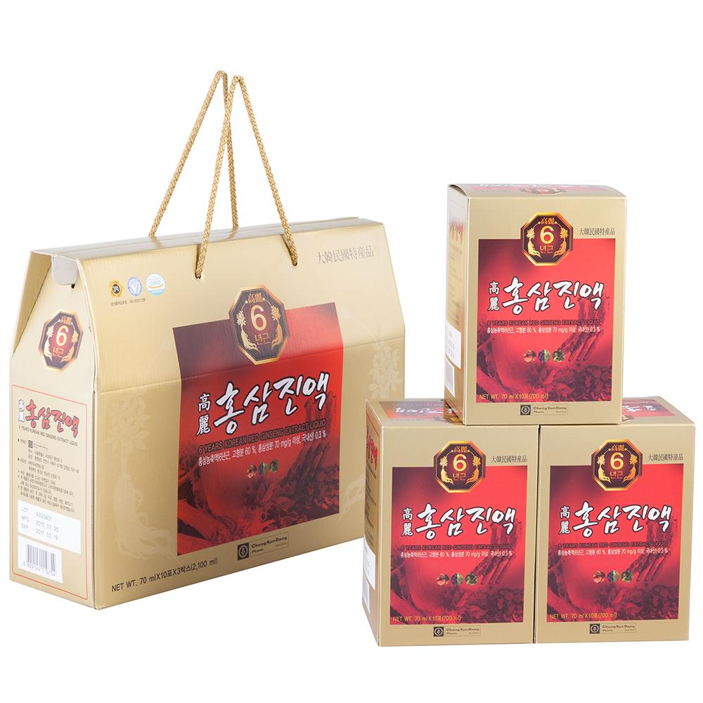 Thực Phẩm Chức Năng Nước Hồng Sâm 6 Năm - 6 Years Korean Red Ginseng Eextract Liquid (70ml x 30 gói)